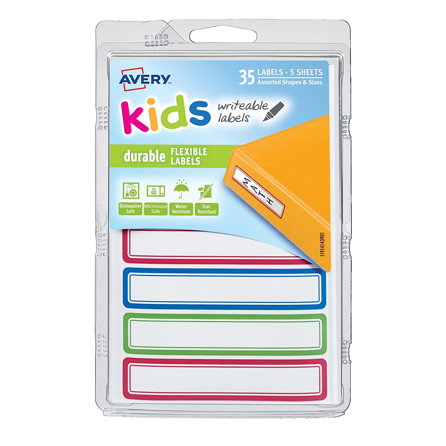 Avery 0.625 x 3.5 Inches Durable Labels for Kids Gear, Assorted, Pack of 35 (41440)