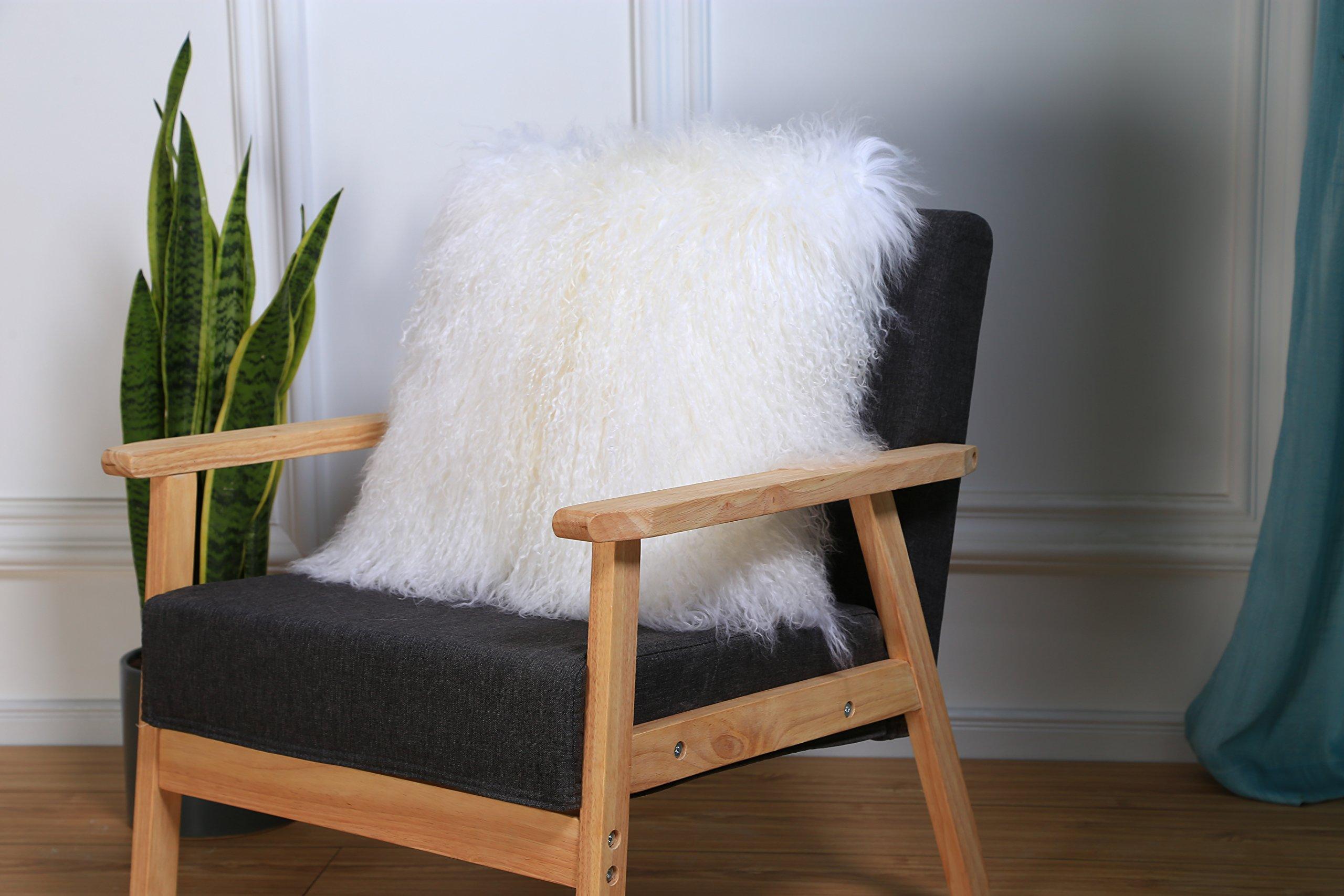 February Snow Deluxe Home Decorative Rectangular Soft Plush 100% Real Mongolian (Tibetan) Lamb Wool Pillow/cushion Cover/Case (White, 20x20inch)