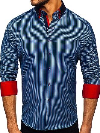 BOLF Hombre Camisa de Manga Larga A Cuadros Cuello Americano Slim Fit Estilo Casual Mix 2B2: Amazon.es: Ropa y accesorios