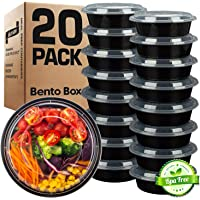 GUFARO Meal Prep Containers, Set of 20 - Food Storage Lunch Box with Lids for Kids and Adults - Salads, Microwave Snacks, Freezer and Dishwasher Safe - Bento Design and Portion Control