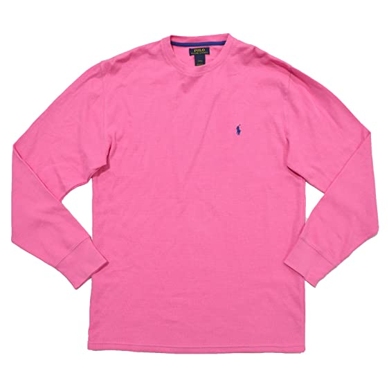 Polo Ralph Lauren Mens Thermal Sleep Shirt Waffle Knit (L, Pink)