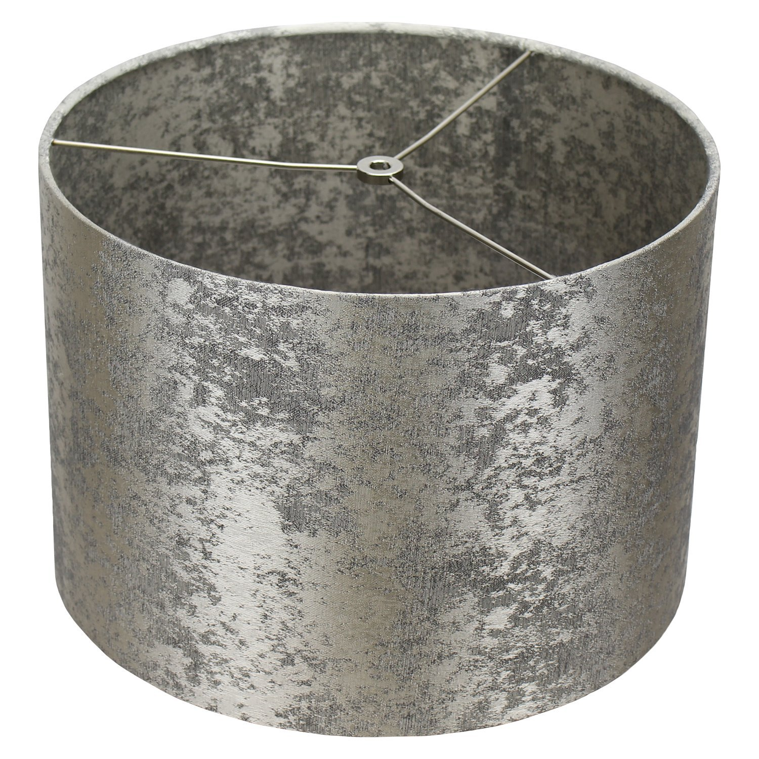 FenchelShades.com 14'' Top Diameter x 14'' Bottom Diameter 10'' Height Cylinder Drum Lampshade USA Made (Couture Crushed Sterling)