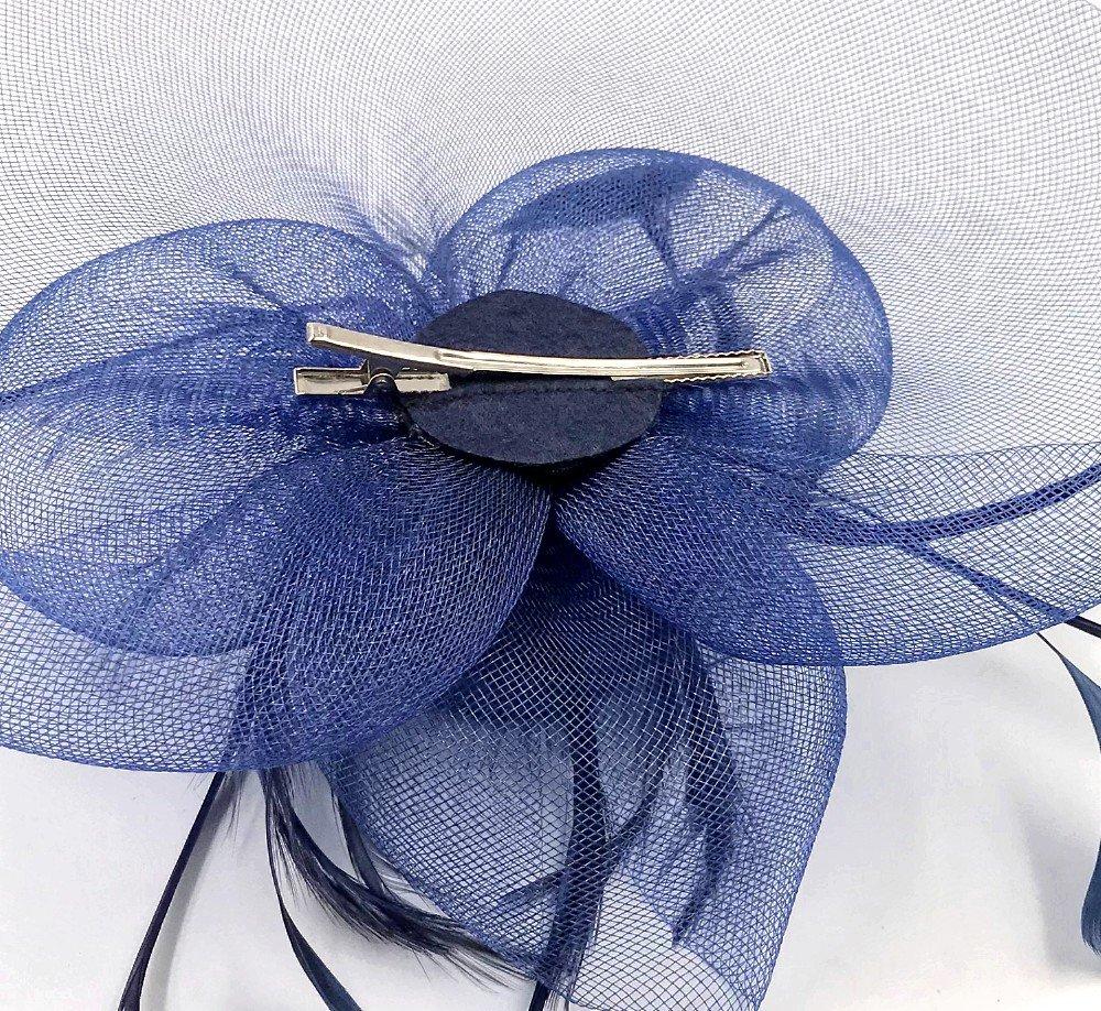 JZK/® Fiore retina piume velo fascinator blu scuro con cerchietto /& mollette copricapo cerimonia matrimonio festa cocktail banchetto retro