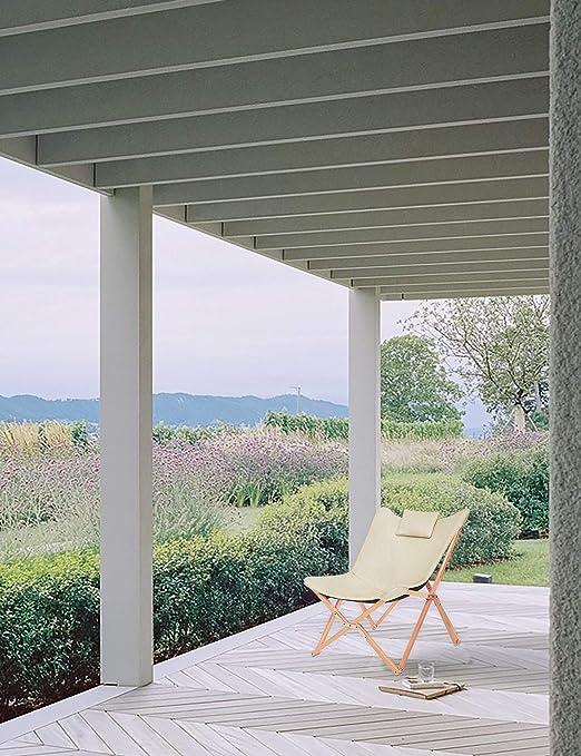 Silla Plegables Diseño de Mariposa Sillas de Jardin Sillón Reclinable Moderno Acolchado para Interior y Exterior Camping Terraza (Beige)