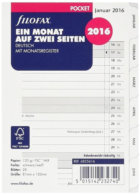 Filofax 6827516 - Recambio de agenda personal para año 2016 ...