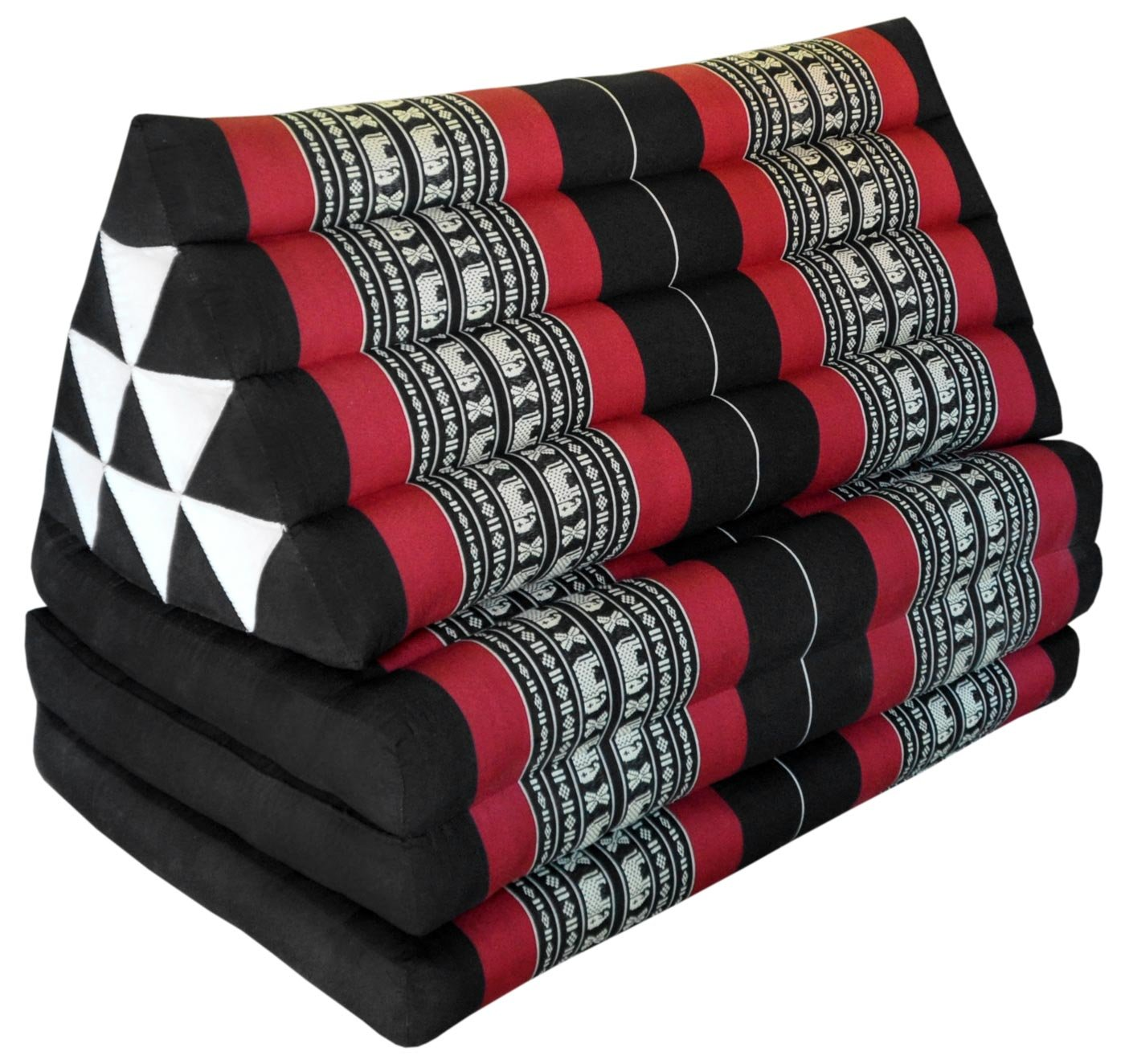 Thai triangle cushion/mattress XXL, with 3 folding seats, black/red, sofa, relaxation, beach, pool, meditation, yoga, made in Thailand. (81618)
