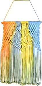 Colorful macrame wall hanging decor - Handmade narrow tapestry, meticulously woven with thick yarn cotton thread. Indie rainbow macrame wall hanging, to create a bright boho vibe in any room