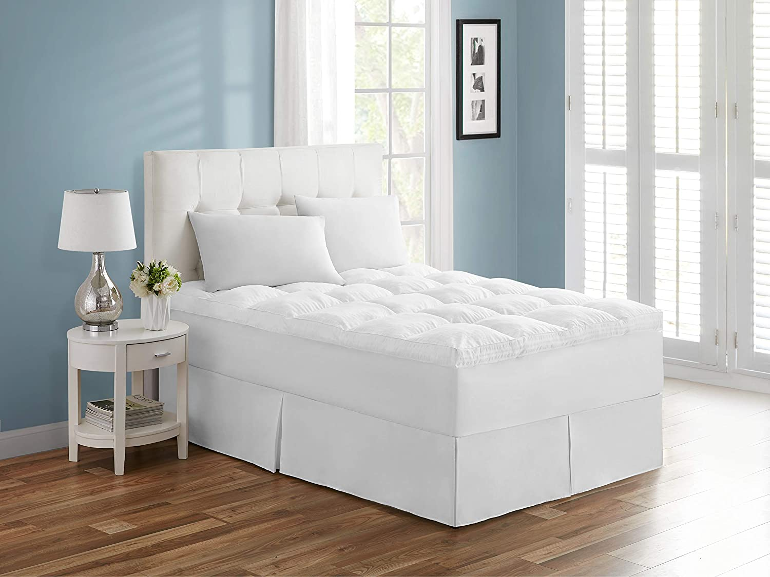 "Tahari Home Extra Thick Embossed Mattress Topper, Heavenly Soft Overfilled Down Alternative Filling Mattress Pad Breathable Hypoallergenic Fiberbed with 8-21"" Deep Pocket, 3"" Thick - Queen, 90x80"