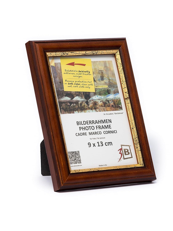 3-B Bilderrahmen Bari RUSTIKAL - dunkel braun - 9x13 cm - Holzrahmen ...