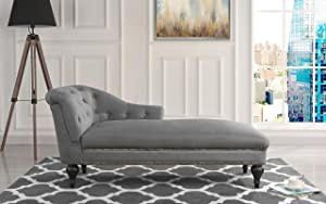 Chaise Lounge Indoor Chair Tufted Velvet Fabric, Modern Long Lounger for Office or Living Room (Grey)