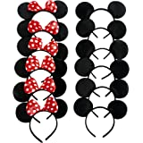 Mickey Minnie Headband | 12pcs Mickey Minnie Mouse Ears Solid Black and Bow Headband for Boys and Girls Birthday Party Celebrations Cute Costume Deluxe Fabric | Red and Black | 1618