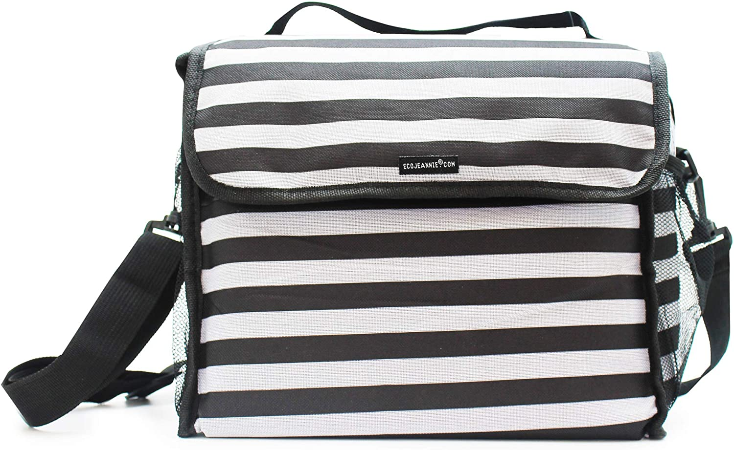 EcoJeannie Premium Large Reusable Insulated Lunch Bag for Warm or Cold Foods Cooler Tote Bag Lunch Organizer with Adjustable Shoulder Strap