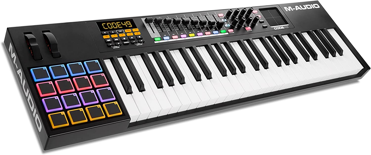 M-Audio Code 49 (Black) | USB MIDI Controller With 49-Key Velocity Sensitive Keybed, X/Y Pad, 16 Velocity Sensitive Trigger Pads