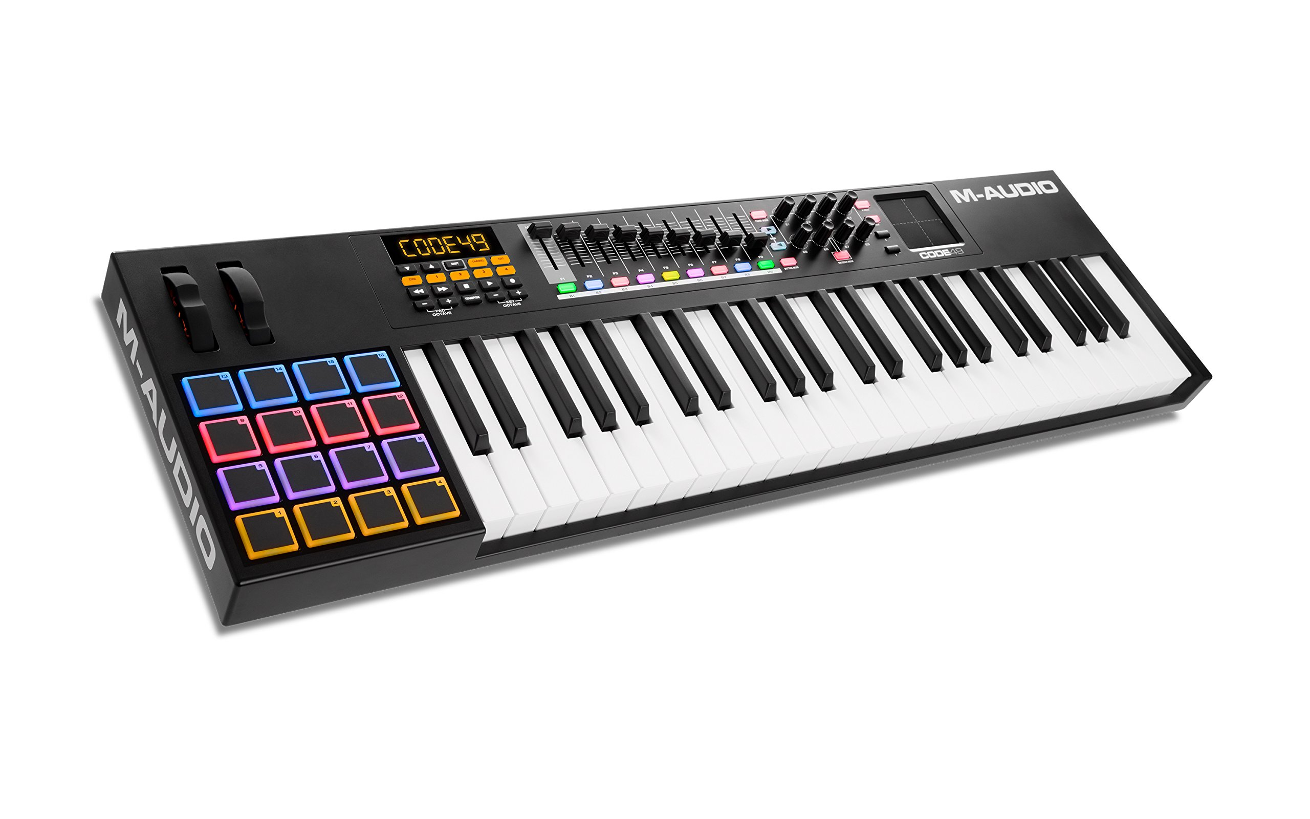 M-Audio Code 49 (Black) | USB MIDI Controller With 49-Key Velocity Sensitive Keybed, X/Y Pad, 16 Velocity Sensitive Trigger Pads & A Full-Consignment of Production/Performance Ready Controls by M-Audio