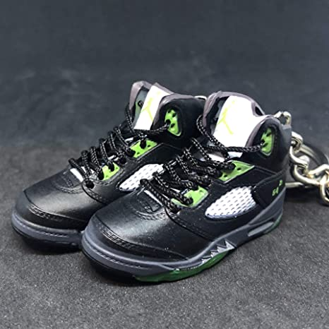 new concept 409d8 fe644 Amazon.com   Pair Air Jordan V 5 Retro Black Green Quai 54 Q54 OG Sneakers  Shoes 3D Keychain 1 6 Figure   Everything Else