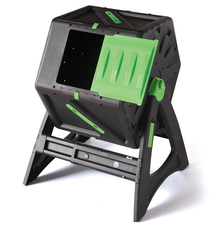 Compostador giratorio de 105 litros - Acelera el proceso - Gira sin esfuerzo - Fácil de ensamblar - Sistema de aireación y mezcla - Estructura muy ...