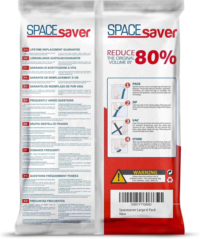 Large 6 Pack SPACESAVER Bolsas de Almacenamiento al vac/ío Reutilizables Premium V/álvula de Doble Cierre y Cierre de Cremallera Bomba de Mano de Viaje incluida