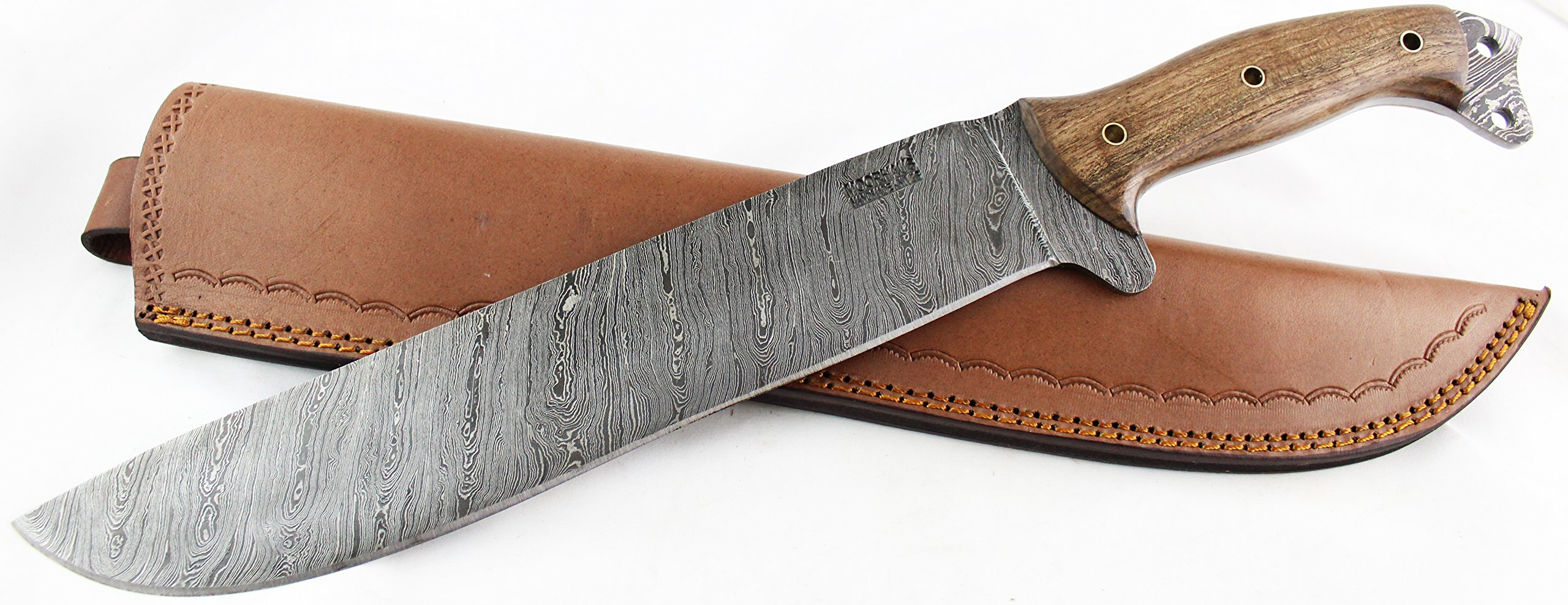 Moorhaus Damascus Machete Knife - Handmade 17.5'' Total Length - Includes Leather Sheath (Walnut Wood)