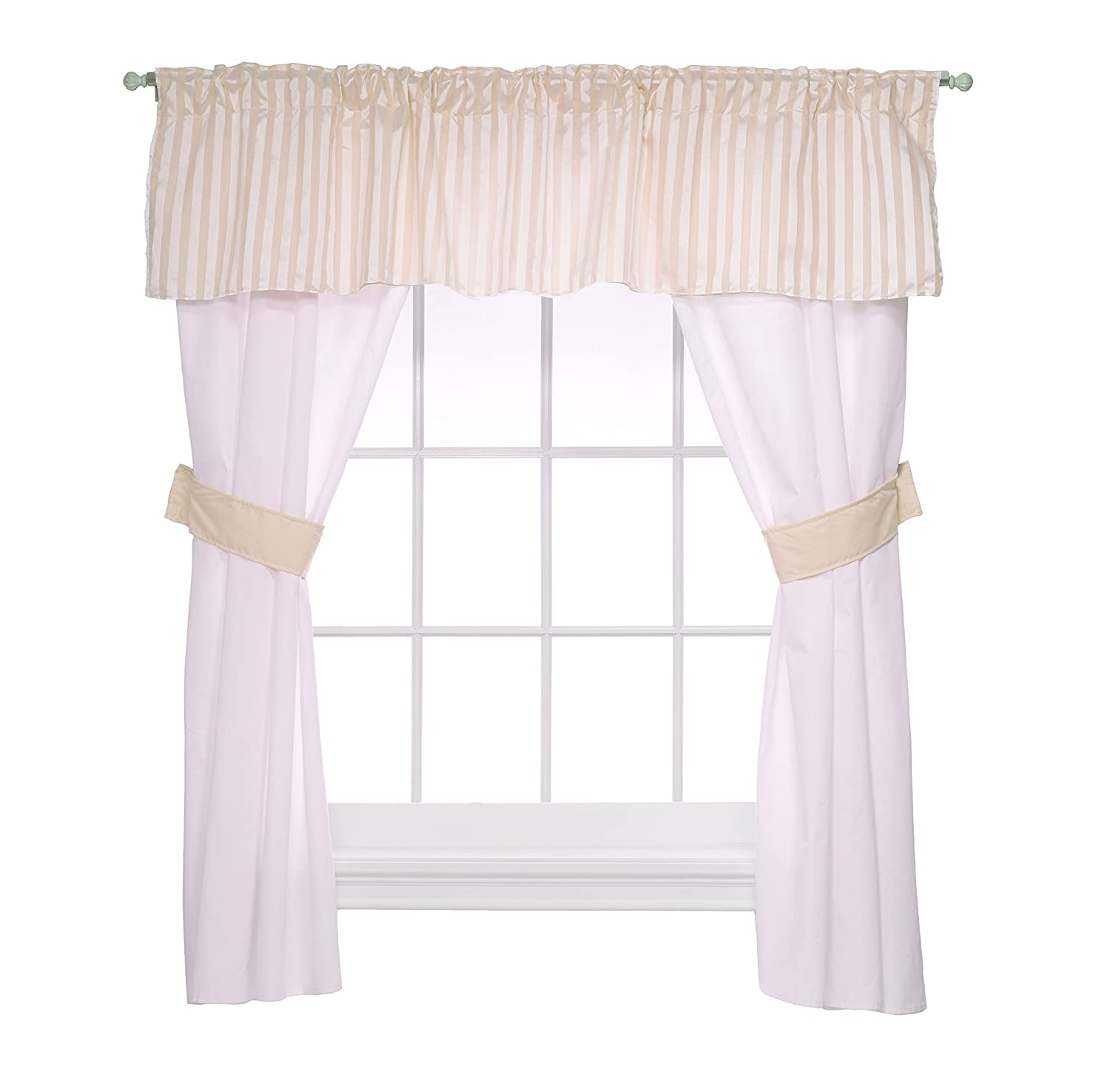 Baby Doll Candyland 5 Piece Window Valance and Curtain Set, Aqua Baby Doll Bedding 1300valc5-aqua