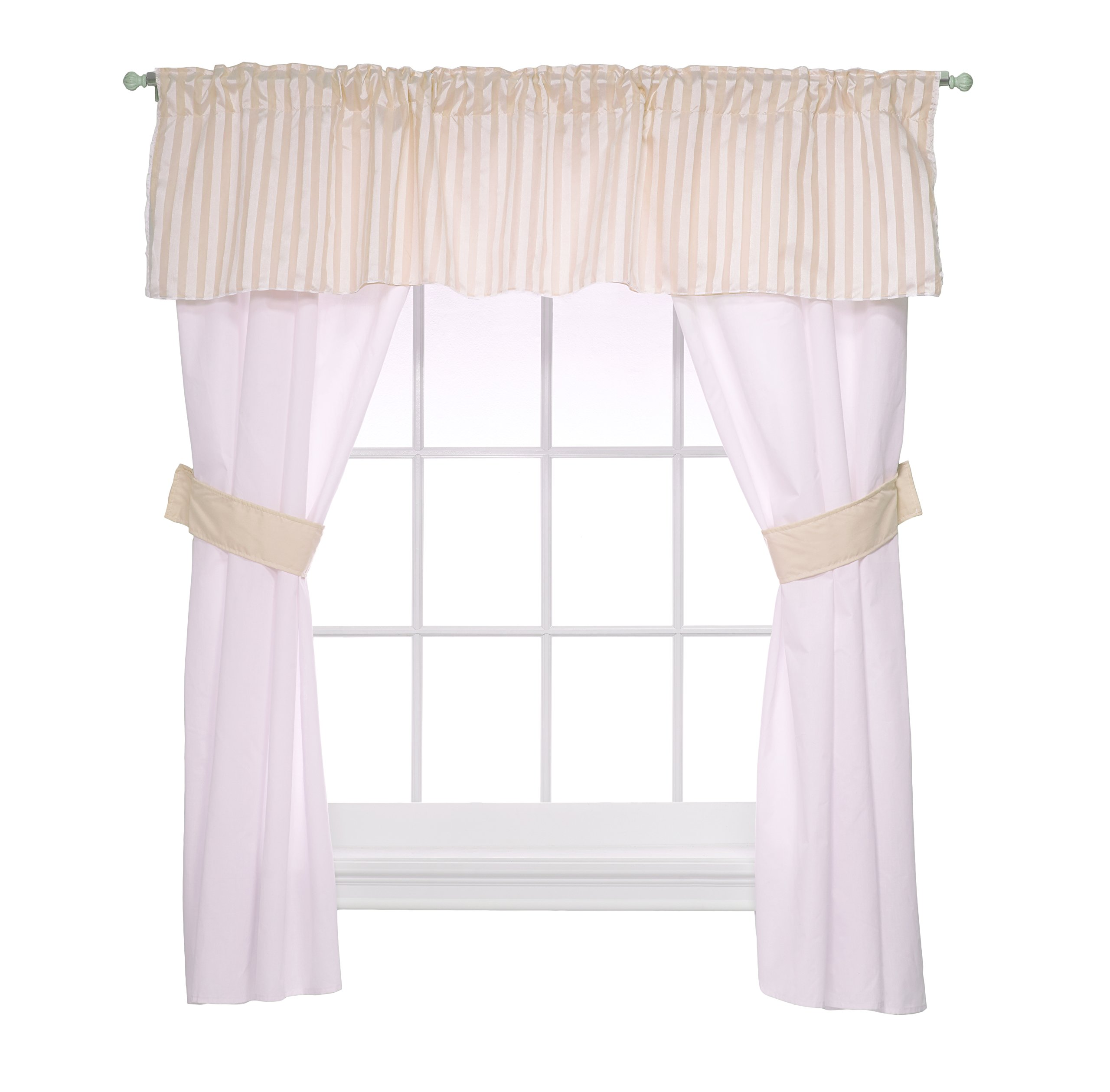 Baby Doll Candyland 5 Piece Window Valance and Curtain Set, Ecru by Baby Doll
