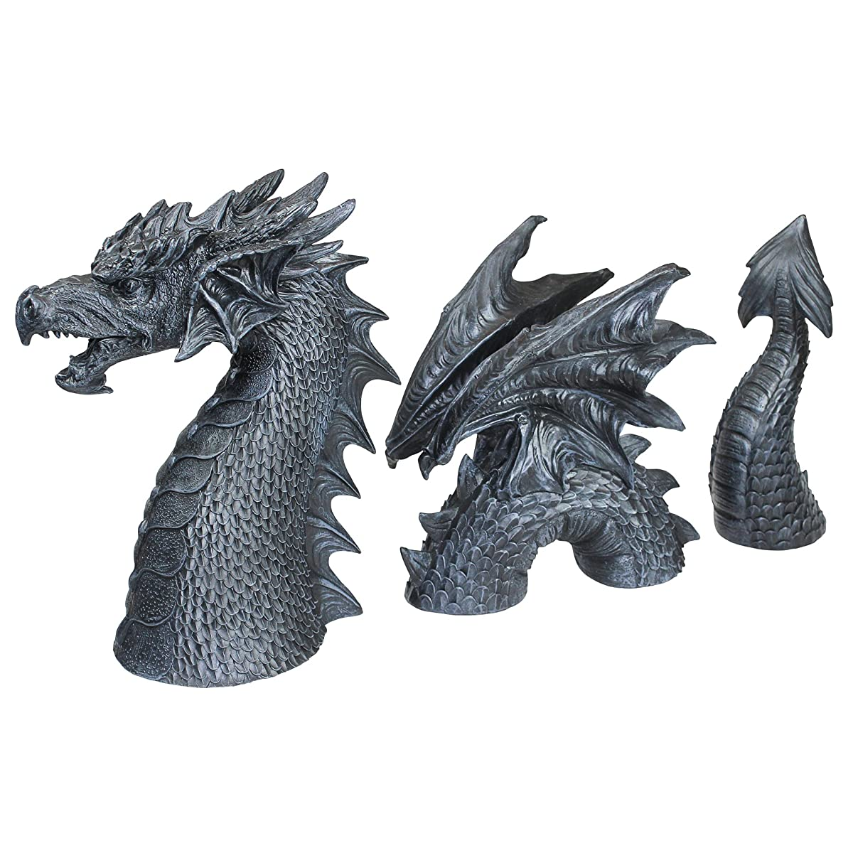 Design Toscano The Dragon of Falkenberg Castle Moat Lawn Garden Statue, 28 Inch Total, Polyresin, Grey Stone