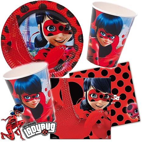37 piezas Party * Lady Bug * con (Platos, Servilletas y vasos + decoración para fiesta temática de cumpleaños infantil o superheldinnen//Mariquita ...
