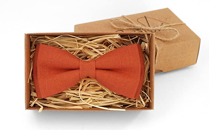 9676f0127fdde Amazon.com: Orange linen pre-tied wedding bow ties for groomsmen and ...