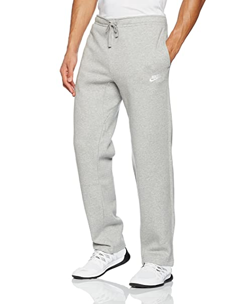 NIKE Mens Open Hem Fleece Club Sweatpants Grey Heather/White 804395-063  Size Small