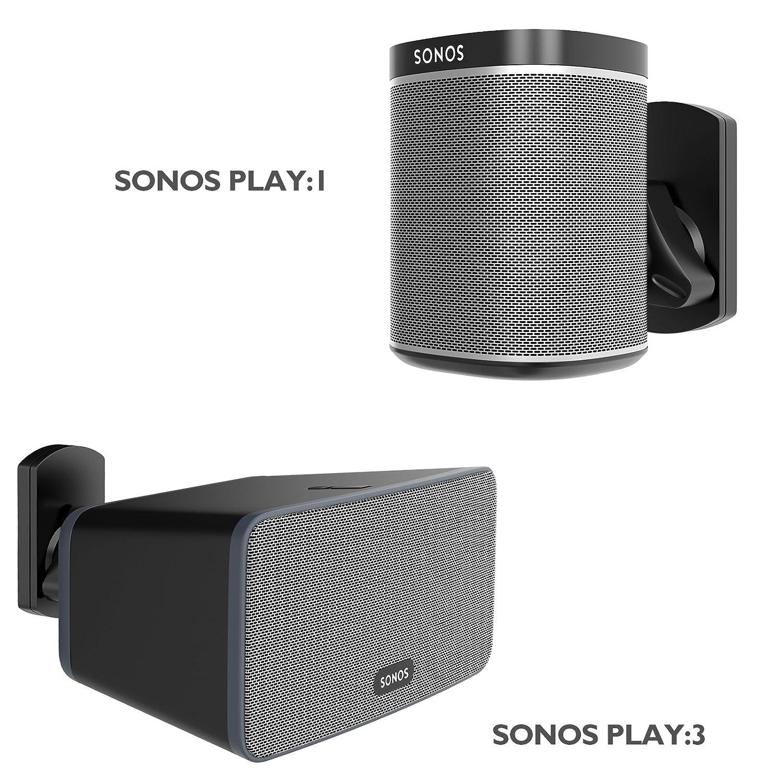 1home 家具 スピーカー 壁取り付けブラケット SONOS Play:1とPlay:3ピボット チルトスイベル ブラック   B07D31BLP8