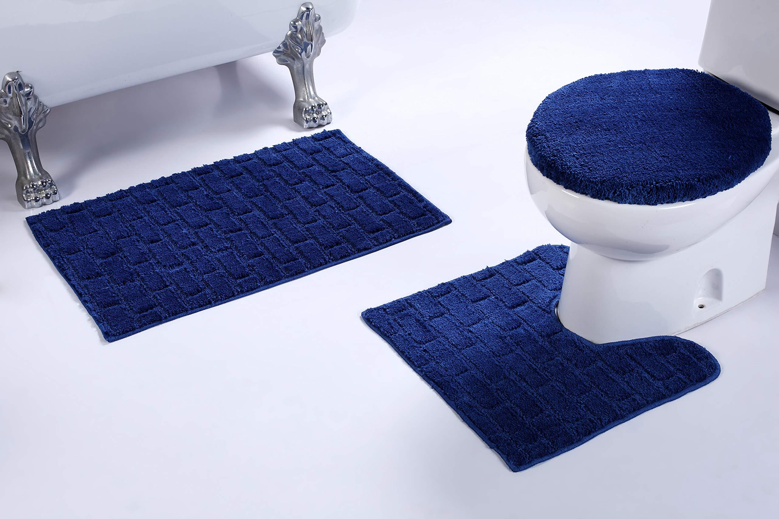 Fancy Linen 3pc Non-Slip Bath Mat Set with Brick Pattern Solid Navy Blue Bathroom U-Shaped Contour Rug, Mat and Toilet Lid Cover New # Bath 67 by Fancy Linen LLC