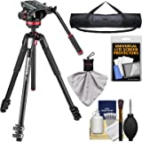 """Manfrotto 055 Series 72"""" 3-Section Aluminum Tripod with MVH502AH Video Head with Case + Kit"""