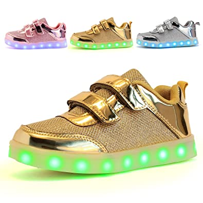 KIDS LED Luminous 7 Colors Light Up USB Charge Shoes Sneakers for Boys /& Girls