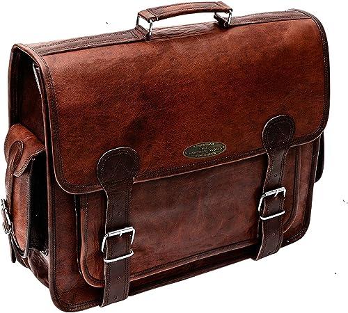 Handmade World Brown Leather Messenger Bag For Men 18 Inch Big Women Shoulder Cross Body Brown Laptop Computer Briefcase Bag