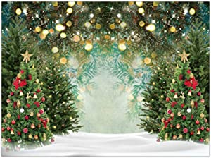 Allenjoy 8x6ft Fabric Winter Christmas Tree Photography Backdrop Glitter Pine Tree Bokeh Xmas Wonderland Background for Family Festival Decorations Baby Kids Birthday Party Pictures Photo Studio Props