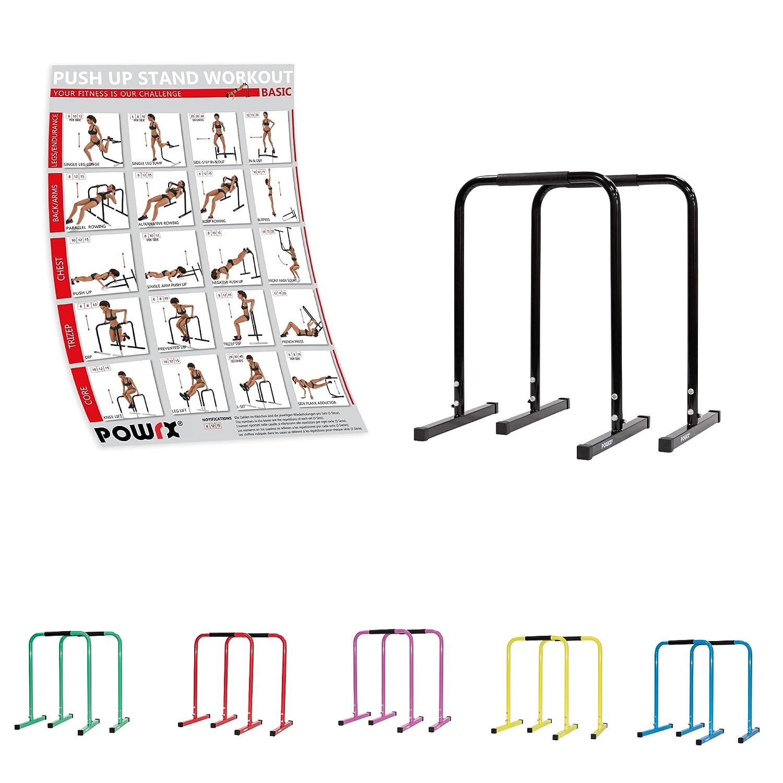 Barres parallèles - Idéales pour l'AMÉLIORATION et la TONIFICATION Musculaire - Prise avec revêtement en Caoutchouc - Exercices: DIPS, Pull-UP, Push-UP - 2 Tailles Disponibles PUSH-UP (Petit) POWRX