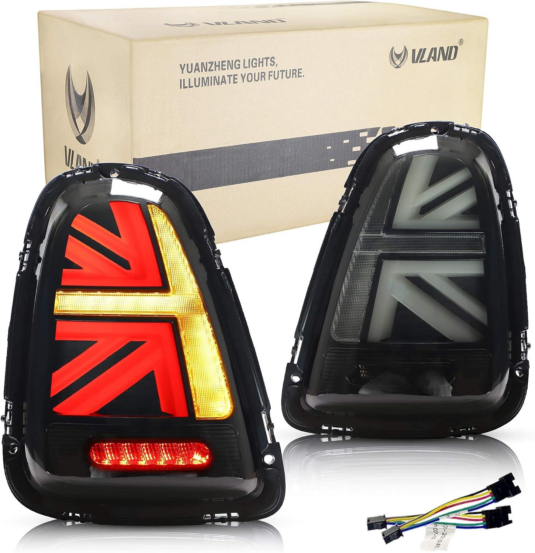 Vland Rückleuchten Kompatibel Mit Mini Cooper R56 R57 R58 R59 2007 2013 Rücklichtleuchte Paar Fahrer Und Beifahrerseite Geräuchert Auto