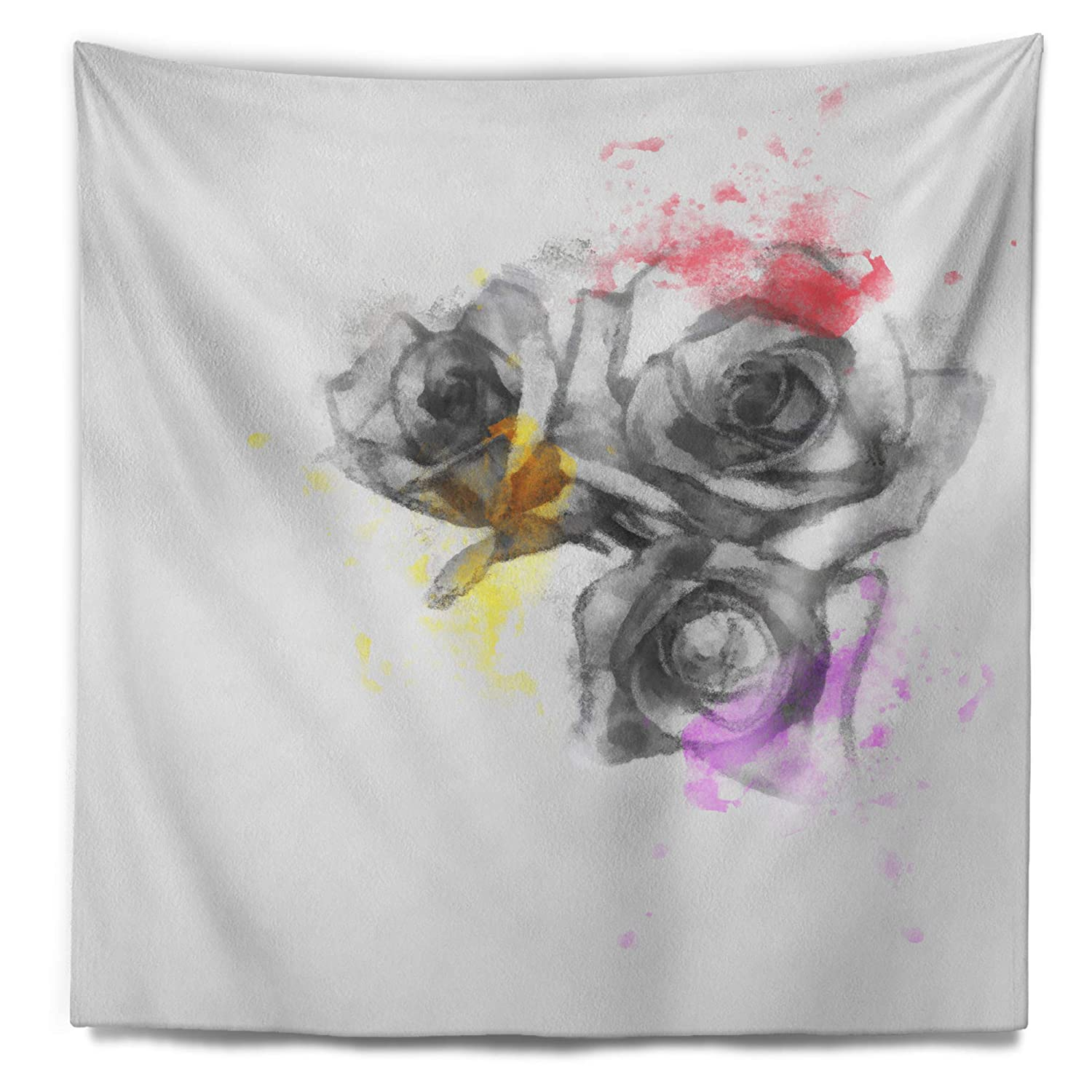 32 in Designart TAP13701-32-39 Black White Watercolor Rose Sketch Floral Blanket D/écor Art for Home and Office Wall Tapestry x 39 in Medium