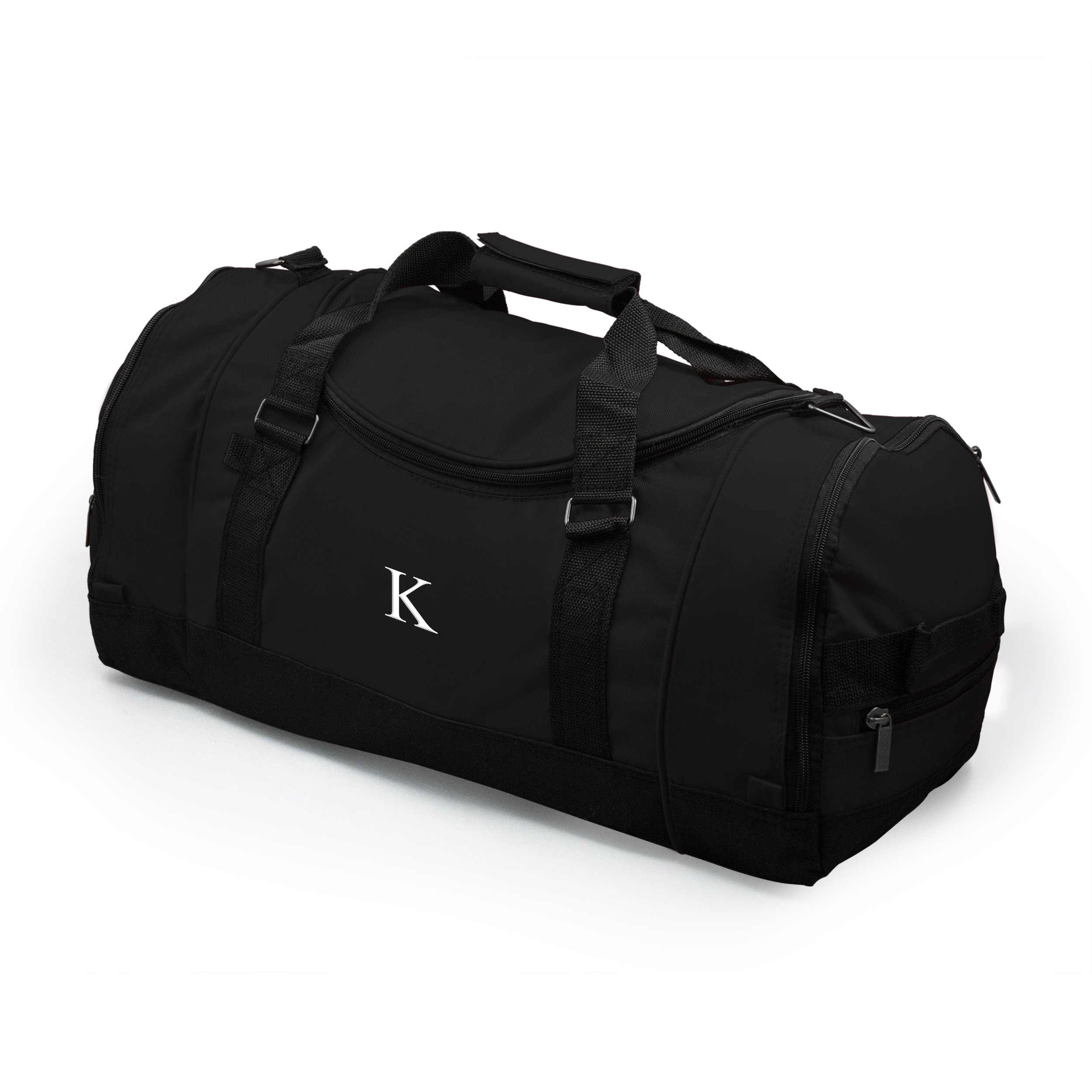 Personalized Deluxe Sports Duffle Bag, Monogrammed Letter K, Black
