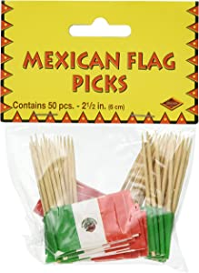 Beistle Mexican Flag Picks 2.5-Inch (50-Count), Green/Red/White, Pkg of 1