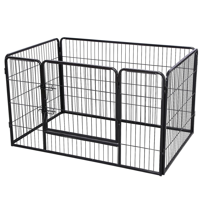 SONGMICS Parc pour chien enclos en fer pour animaux de compagnie amovible et transportable noir PPK74H