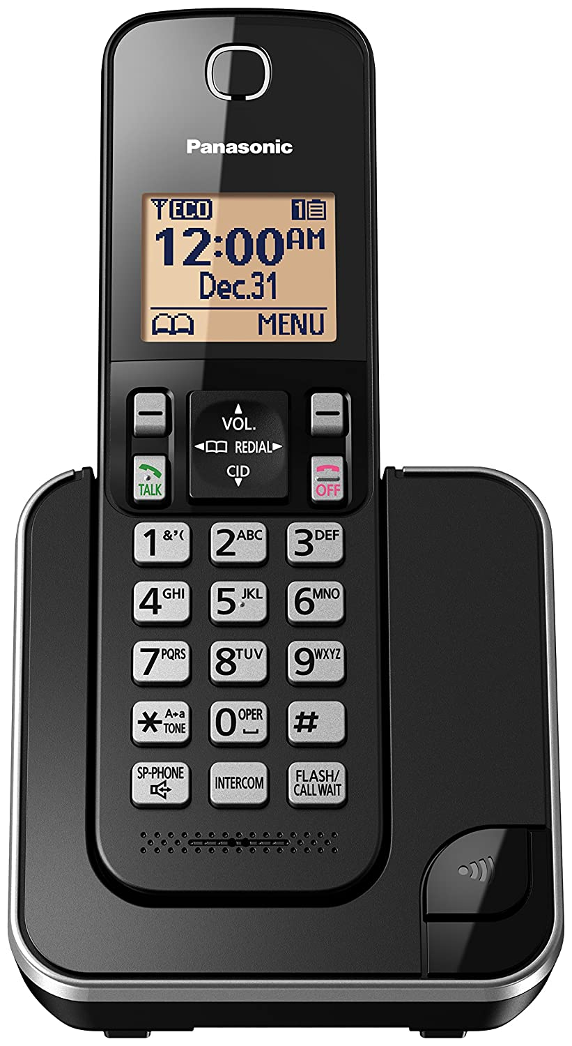 PANASONIC Expandable Cordless Phone System with Amber Backlit Display and Call Block – 1 Handsets – KX-TGC350B (Black)