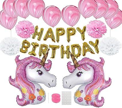 Decoración de Fiesta de Cumpleaños, Globos Unicornio Helio Gigante & Banner de Feliz Cumpleaños con Látex Globos Rose y Cinta Cumpleaños Partido ...