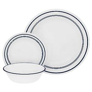 Corelle 18-Piece Service for 6, Chip Resistant, Classic Café Blue Dinnerware Set,