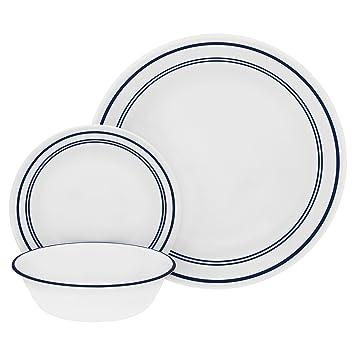 Corelle 18 Piece \u0026quot;Classic Cafe Blue\u0026quot; Livingware Dinnerware Set White  sc 1 st  Amazon.com & Amazon.com   Corelle 18 Piece \