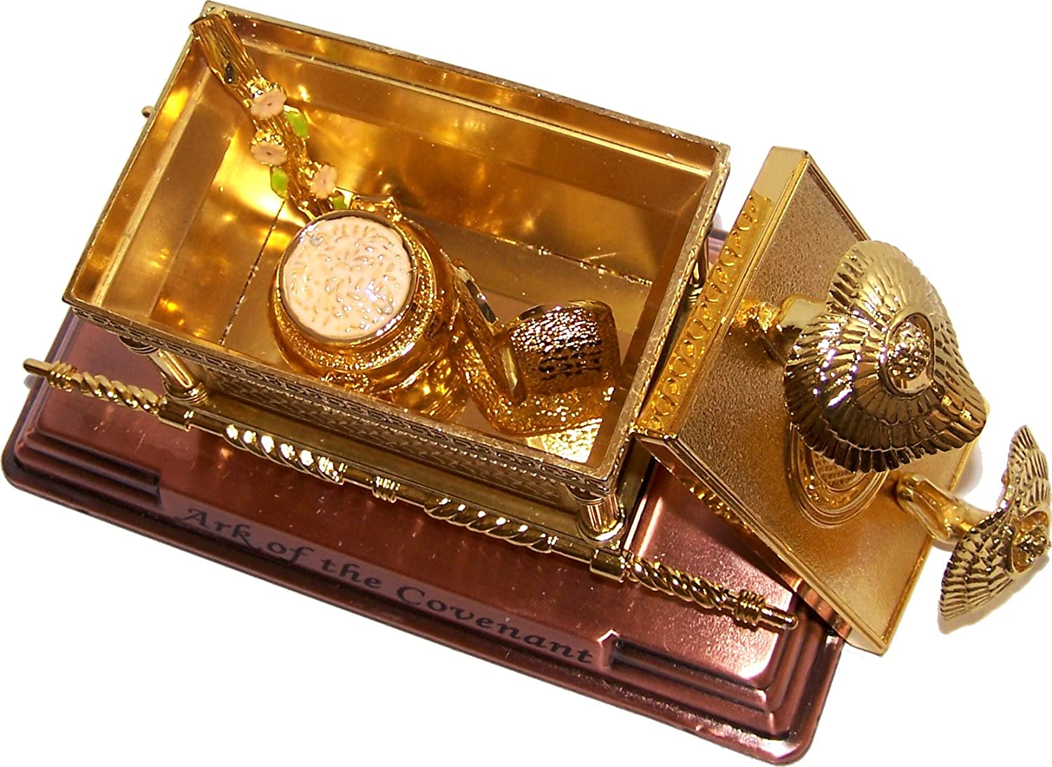 The Ark of The Covenant Gold Plated with Ark Contents Replica Aaron Rod, Tablets and Manna – Medium