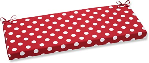 Pillow Perfect Outdoor Indoor Polka Dot Bench Swing Cushion, 45 x 18 , Red