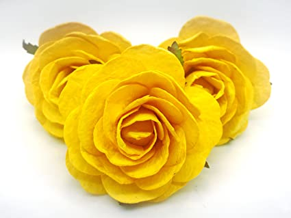 Amazon jn siam789 canary yellow 3 pcs 25 inches large jn siam789 canary yellow 3 pcs 25 inches large mulberry roses paper flowers mightylinksfo