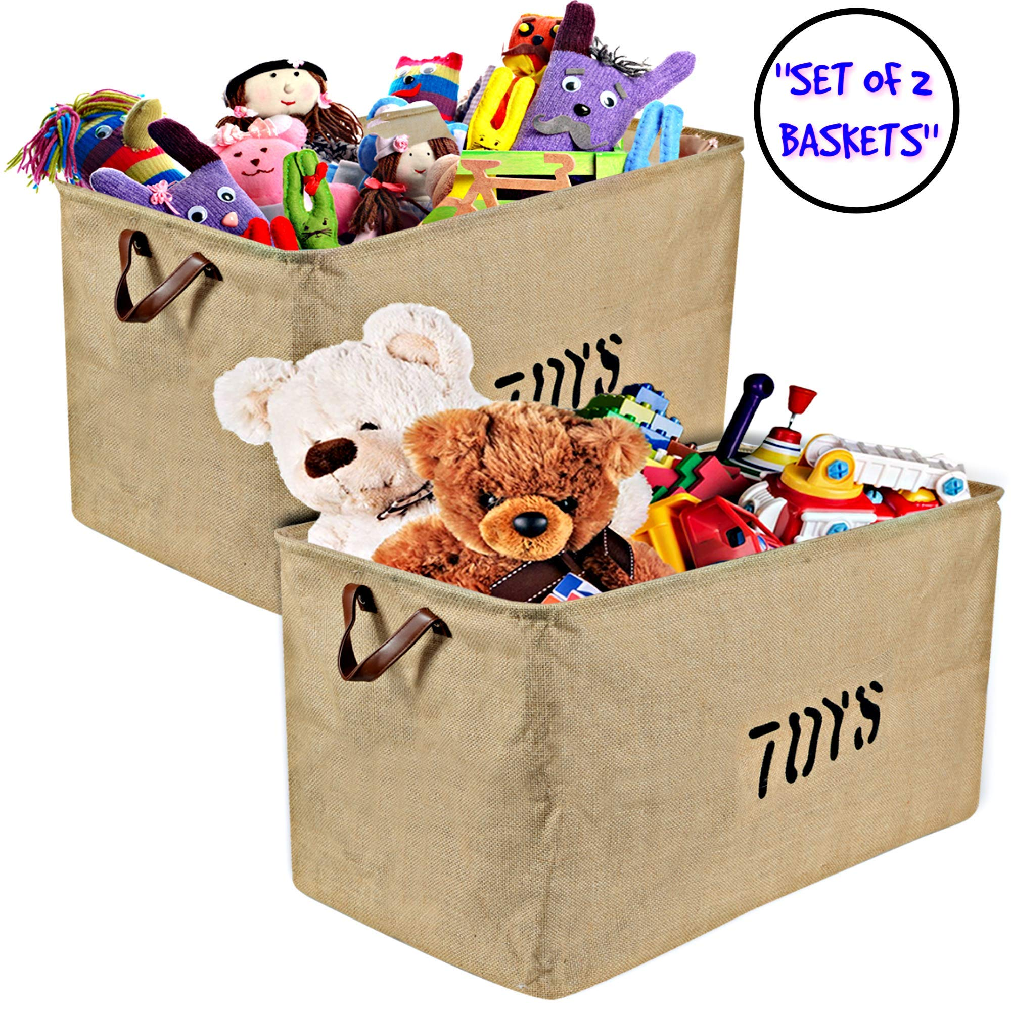 Woffit Set of 2 Toy Storage Organizer Baskets for Nursery, Playroom, Kids & Living Room, Etc, Extra Large Sturdy and Collapsible Tote Bins for Children & Dog Toys Great Chest Box for Boys & Girls by Woffit