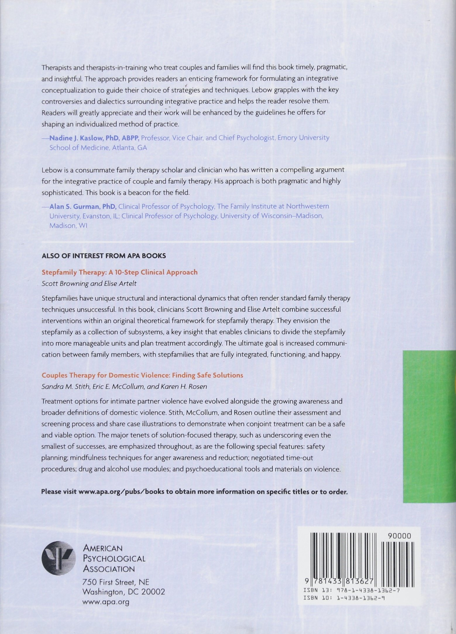 Couple and Family Therapy: An Integrative Map of the Territory:  Amazon.co.uk: Jay Lebow: 9781433813627: Books