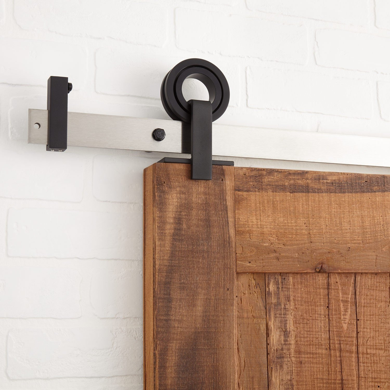 Naiture Paso Black Finish Barn Door Hardware With 7' Stainless Steel Finish Undrilled Track